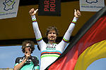 World Champion Peter Sagan (SVK) and Bora-Hansgrohe team on stage at the team presentation before the 116th edition of Paris-Roubaix 2018. 7th April 2018.<br /> Picture: ASO/Pauline Ballet | Cyclefile<br /> <br /> <br /> All photos usage must carry mandatory copyright credit (© Cyclefile | ASO/Pauline Ballet)