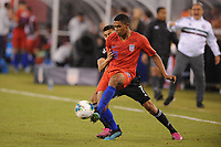 EAST RUTHERFORD, NJ - SEPTEMBER 7: Reggie Cannon #20 of the United States battles for the ball with Orbelin Pineda #7 of Mexico during a game between Mexico and USMNT at MetLife Stadium on September 6, 2019 in East Rutherford, New Jersey.