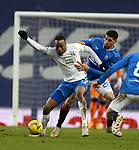 13.02.2021 Rangers v Kilmarnock: Leon Balogun tackles Nicke Kabamba