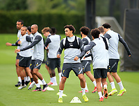 14th September 2021: The  AXA Training Centre, Kirkby, Knowsley, Merseyside, England: Liverpool FC training ahead of Champions League game versus AC Milan on 15th September: Trent Alexander-Arnold of Liverpool warms up with his team mates