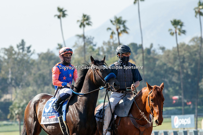 ARCADIA, CA  APRIL 3:  #3 Rock Your World, ridden by Umberto Rispoli, in the post parade of the Santa Anita Derby (Grade l) on April 3, 2021 at Santa Anita Park, in Arcadia, CA.(Photo by Casey Pnillips/ Eclipse Sportswire/ CSM)