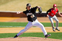 Wake Forest Demon Deacons relief pitcher Nate Jones (42) in action against the Youngstown State Penguins at Wake Forest Baseball Park on February 24, 2013 in Winston-Salem, North Carolina.  The Demon Deacons defeated the Penguins 6-5.  (Brian Westerholt/Four Seam Images)