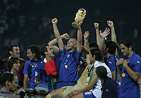Italian forward (7)Alessandro Del Piero celebrates with his teammates after the game.  Italy defeated France on penalty kicks after leaving the score tied, 1-1, in regulation time in the FIFA World Cup final match at Olympic Stadium in Berlin, Germany, July 9, 2006.