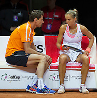 Arena Loire,  Trélazé,  France, 16 April, 2016, Semifinal FedCup, France-Netherlands, Arantxa Rus (NED) on the Dutch bench with captain Paul Haarhuis<br /> Photo: Henk Koster/Tennisimages