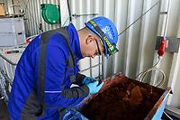 GERMANY, Hamburg Water sewage plant, urban mining pilot project of Remondis and Hamburg Water to recycle phosphorus acid from ash of burned sewage sludge, phosphoric acid is an important fertilizer in the agriculture and the natural resources are limited, resource ash from burned sludge / DEUTSCHLAND Hamburg, Hamburg Wasser Klaerwerk Koehlbrandhoeft, URBAN MINING, Kreislaufwirtschaft, Remondis und HW Pilot Anlage zur Gewinnung von Phosphorsaeure aus der Asche von verbrannten Klaerschlaemmen, Phosphorsaeure kann als Duenger in der Landwirtschaft wieder eingesetzt werden, Rohstoff für das Phosphor recycling, Asche des verbrannten Klärschlamms