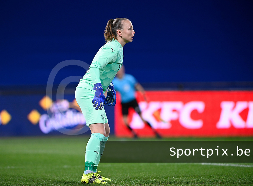 Swiss goalkeeper Gaelle Thalmann (1) pictured during the Womens International Friendly game between France and Switzerland at Stade Saint-Symphorien in Longeville-lès-Metz, France.