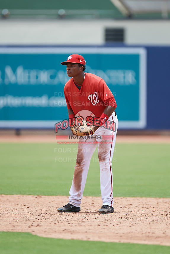 GCL Nationals shortstop Yasel Antuna (5) during the second game of a doubleheader against the GCL Mets on July 22, 2017 at The Ballpark of the Palm Beaches in Palm Beach, Florida.  GCL Mets defeated the GCL Nationals 4-1.  (Mike Janes/Four Seam Images)