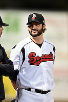 Nashville Sounds pitcher Brent Leach (30) in the bullpen during a game against the Omaha Storm Chasers on May 19, 2014 at Herschel Greer Stadium in Nashville, Tennessee.  Nashville defeated Omaha 5-4.  (Mike Janes/Four Seam Images)