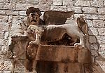 .Hvar Island. Hvar harbour. Venitian lion.Cruise in Croatia. Island of Dalmatia.