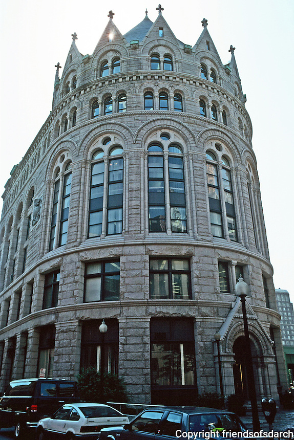 Boston:  Flour & Grain Exchange 1889-92. (Now Boston Chamber of Commerce)  Shepley, Rutan & Coolidge. Richardsonian Romantesque style--rusticated masonry and multi-tiered arches, castle-like.  India and Milk Streets.  Photo '88.