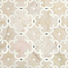 Hercule, a waterjet stone mosaic, shown in honed Cloud Nine, Thassos and Ming Green, was designed by New Ravenna.