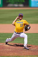 East Carolina Pirates pitcher Nick Logusch (37) during a game against the Memphis Tigers on May 25, 2021 at BayCare Ballpark in Clearwater, Florida.  (Mike Janes/Four Seam Images)