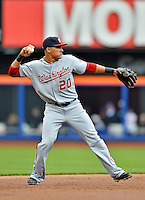 11 April 2012: Washington Nationals shortstop Ian Desmond in action against the New York Mets at Citi Field in Flushing, New York. The Nationals shut out the Mets 4-0 to take the rubber match of their 3-game series. Mandatory Credit: Ed Wolfstein Photo