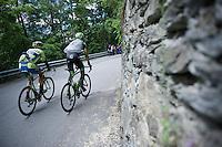 Ivan Basso (ITA/Tinkoff-Saxo) & Davide Formolo (ITA/Cannondale-Garmin) in tempo up the Passo Del Mortirolo (1854m) on stage 16: Pinzolo - Aprica (174km) of the 2015 Giro d'Italia