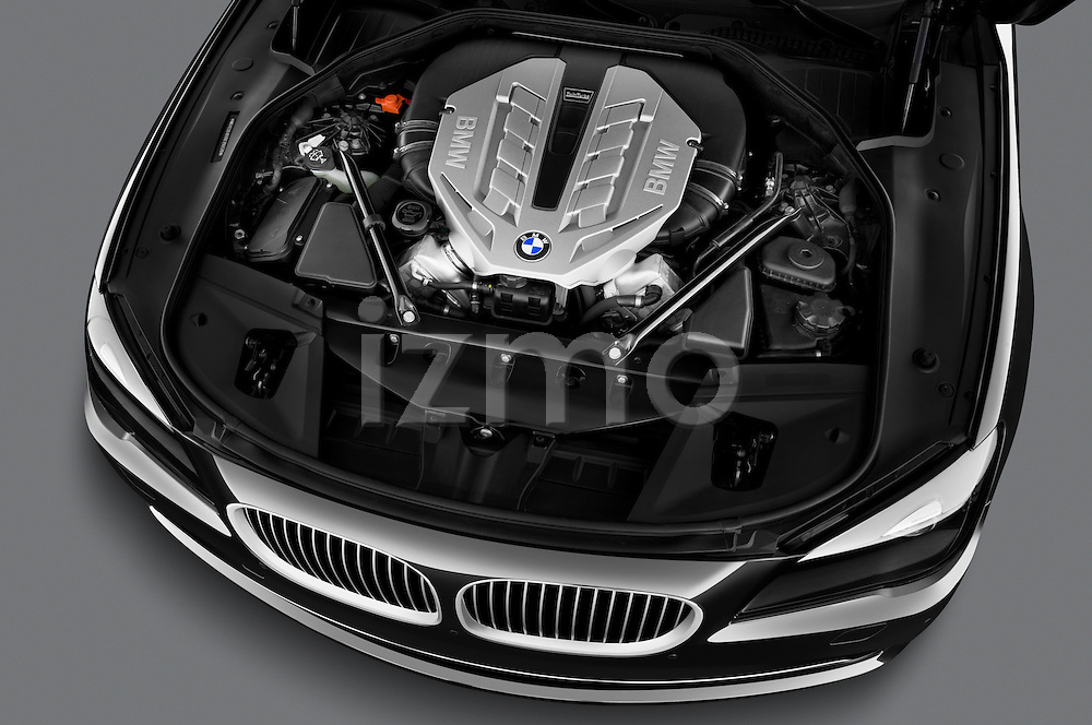 High angle engine detail of a 2011 BMW 7 Series Active Hybrid .