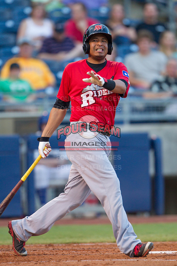 Frisco RoughRiders second baseman Guilder Rodriguez (6) watches a fowl ball during the Texas League game against the Tulsa Drillers at ONEOK field on August 15, 2014 in Tulsa, Oklahoma  The RoughRiders defeated the Drillers 8-2.  (William Purnell/Four Seam Images)