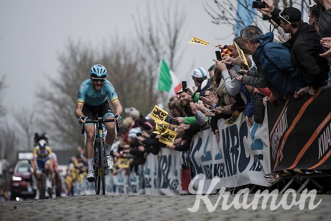 Hugo Houle (CAN/Astana) leads the early break away group on the first passage of the Oude Kwaremont <br /> <br /> 103rd Ronde van Vlaanderen 2019<br /> One day race from Antwerp to Oudenaarde (BEL/270km)<br /> <br /> ©kramon