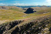 Carn Etchachan and the Cairn Gorm Plateau from Fiacaill Buttress, The Northern Corries, Cairngorm National Park, Badenoch and Speyside, Highland