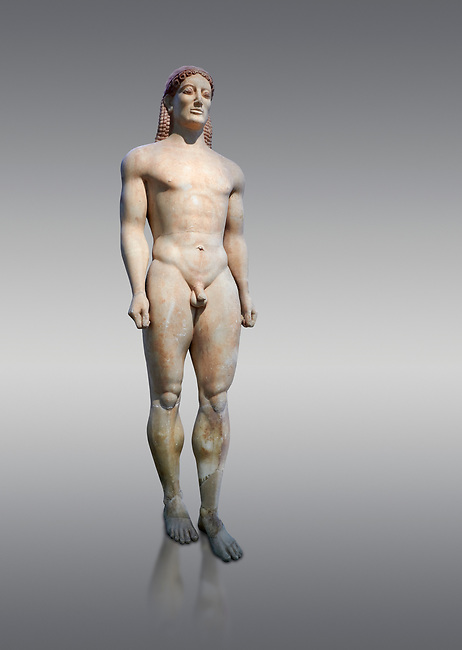 Parian Mable Ancient Greek Archaic statue of a kouros, found in Anavyssos, Attica, circa 530 BC, Athens National Archaeological Museum. Cat no 3851. Against grey.<br /> <br /> The body of the statue is powerful and articulate with empahasised muscles. This was a funerary statue from the grave of Kroisos, as indicated bt the inscription on its base reading, 'stop and mourn at the grave of Kroiusos, whom raging Ares destroyed when he fought among the defenders'.