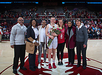 Stanford, CA - February 9, 2020: Mikaela Brewer, Tara VanDerveer at Maples Pavilion. Stanford Women's Basketball defeated the USC Trojans 79-59 on their Senior Night and celebration of National Girls and Women in Sports Day.
