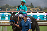 """ARCADIA, CA  SEPTEMBER 27:#3 Eight Rings, ridden by John Velazquez, returns to connections after winning the American Pharoah Stakes (Grade 1) """"Win and You're In Breeders' Cup Juvenile Division"""" on September 27, 2019 at Santa Anita Park in Arcadia, CA."""