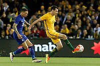 June 7, 2016: RYAN MCGOWAN (19) of Australia controls the ball during an international friendly match between the Australian Socceroos and Greece at Etihad Stadium, Melbourne. Photo Sydney Low
