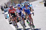 The breakaway group Frederik Veuchelen (BEL) Wanty-Groupe Goubert, Alessandro Bazzana (ITA) United Healthcare and Thomas De Gendt (BEL) Lotto Soudal, in action during Stage 5 of the 2015 Presidential Tour of Turkey running 159.9km from Mugla to Pamukkale. 30th April 2015.<br /> Photo: Tour of Turkey/Mario Stiehl/www.newsfile.ie