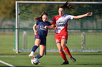 Jill Janssens (7) of OH Leuven and Romy Camps (3) of Zulte Waregem  pictured during a female soccer game between SV Zulte - Waregem and Oud Heverlee Leuven on the sixth matchday of the 2021 - 2022 season of Belgian Scooore Womens Super League , saturday 9 of October 2021  in Zulte , Belgium . PHOTO SPORTPIX | DIRK VUYLSTEKE