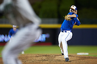 Durham Bulls relief pitcher Oliver Drake (14) in action against the Gwinnett Braves at Durham Bulls Athletic Park on April 20, 2019 in Durham, North Carolina. The Bulls defeated the Braves 3-2 in game two of a double-header. (Brian Westerholt/Four Seam Images)