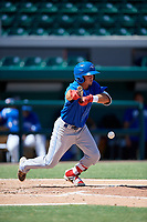 Toronto Blue Jays Brandon Polizzi (61) bunts during an Instructional League game against the Detroit Tigers on October 12, 2017 at Joker Marchant Stadium in Lakeland, Florida.  (Mike Janes/Four Seam Images)