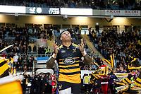 Photo: Richard Lane/Richard Lane Photography. Wasps v Toulouse.  European Rugby Champions Cup. 08/12/2018. Wasps' Nathan Hughes runs out.