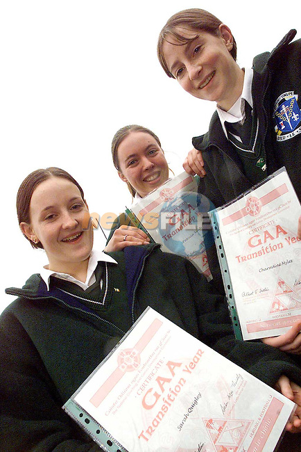 Sarah Quigley, Patricia Kelledy and Charmaine Myles, students from Dun Lughaidh, Dundalk who  received thier National Coaching and Games Development GAA Certificates..Picture: Paul Mohan/Newsfile