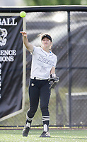 Bentonville center fielder Kadence Stafford (10) throws, Thursday, April 29, 2021 during a softball game at Bentonville High School in Bentonville. Check out nwaonline.com/210430Daily/ for today's photo gallery. <br /> (NWA Democrat-Gazette/Charlie Kaijo)