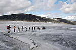 Crossing a glacier on the return from Galdhopiggen, Norway's highest mountain, 2469 meters above sea-level