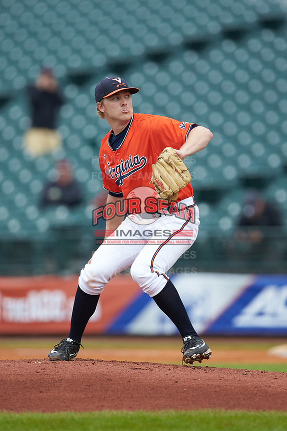 Virginia Cavaliers starting pitcher Derek Casey (14) in action against the Duke Blue Devils in Game Seven of the 2017 ACC Baseball Championship at Louisville Slugger Field on May 25, 2017 in Louisville, Kentucky. The Blue Devils defeated the Cavaliers 4-3. (Brian Westerholt/Four Seam Images)