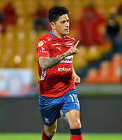 MEDELLIN-COLOMBIA, 10-03-2019: Germán Ezequiel Cano, jugador  de Deportivo Independiente Medellín celebra el gol anotado a Independiente Santa Fe, durante partido de la fecha 9 entre Deportivo Independiente Medellín y el Independiente Santa Fe, por la Liga Águila I 2019, en el estadio Atanasio Girardot de la ciudad de Medellín. / German Ezequiel Cano, player of Deportivo Independiente Medellin celebrates a scored goal to Independiente Santa Fe, during a match for the 9th date between Deportivo Independiente Medellin and Independiente Santa Fe, for the Aguila Leguaje I 2019 at the Atanasio Girardot stadium in Medellin city. Photos: VizzorImage  / León Monsalve / Cont.