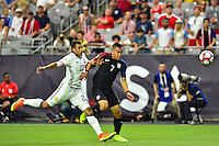 Glendale, AZ - Saturday June 25, 2016: Jeison Murillo, Bobby Wood during a Copa America Centenario third place match match between United States (USA) and Colombia (COL) at University of Phoenix Stadium.