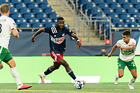 FOXBOROUGH, MA - AUGUST 26: Mayele Malango #10 of New England Revolution II on the attack during a game between Greenville Triumph SC and New England Revolution II at Gillette Stadium on August 26, 2020 in Foxborough, Massachusetts.