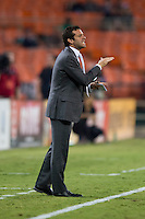 D.C. United head coach Ben Olsen yells to his team at RFK Stadium in Washington, DC.  D.C. United defeated the Chicago Fire, 4-2.