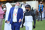 March 27 2021: Chad Summers talks to jockey Joel Rosario, rider of True Valor (IRE prior to the running of the Al Quoz Sprint at Meydan Racecourse, Dubai, UAE. Shamela Hanley/Eclipse Sportswire/CSM