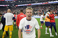 LAS VEGAS, NV - AUGUST 1: Jackson Yueill #14 of the United States celebrates after a game between Mexico and USMNT at Allegiant Stadium on August 1, 2021 in Las Vegas, Nevada.
