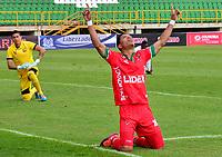 TUNJA - COLOMBIA, 3-09-2017 .Edis Ibarguen (Izq) de Patriotas de Boyacá celebra después de anotar un gol a Rionegro Aguilas durante partido por la fecha 11 de la Liga Aguila II 2017 jugado en el estadio La Independencia de la ciudad de Tunja. / Edis Ibarguen (L) of Patriotas Boyaca celebrates after scoring a goal to Rionegro Aguilas  during match for the date 11 of the Liga Aguila II 2017 played at the Independencia  Stadium in Tunja city . Photo:VizzorImage / Javier Alberto Morales Franco / Contribuidor