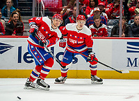 WASHINGTON, DC - JANUARY 31: Carl Hagelin #62 of the Washington Capitals  sends off a pass during a game between New York Islanders and Washington Capitals at Capital One Arena on January 31, 2020 in Washington, DC.
