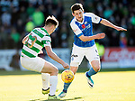 St Johnstone v Celtic…04.11.17…  McDiarmid Park…  SPFL<br />Blair Alston is blocked by Kieran Tierney<br />Picture by Graeme Hart. <br />Copyright Perthshire Picture Agency<br />Tel: 01738 623350  Mobile: 07990 594431