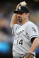 Paul Konerko #14 of the Chicago White Sox during a game against the Los Angeles Dodgers at Dodger Stadium on June 15, 2012 in Los Angeles, California. Los Angeles defeated Chicago 7-6. (Larry Goren/Four Seam Images)