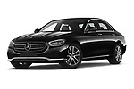 Stock pictures of low aggressive front three quarter view of 2021 Mercedes Benz E-Class Avantgarde 4 Door Sedan Low Aggressive