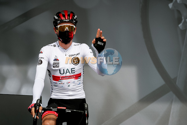 Brandon McNulty (USA) UAE Team Emirates at sign on before Stage 4 of Paris-Nice 2021, running 187.5km from Chalon-sur-Saone to Chiroubles, France. 10th March 2021.<br /> Picture: ASO/Fabien Boukla | Cyclefile<br /> <br /> All photos usage must carry mandatory copyright credit (© Cyclefile | ASO/Fabien Boukla)