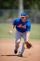 New York Mets Pete Alonso (19) during practice before a minor league Spring Training game against the Miami Marlins on March 26, 2017 at the Roger Dean Stadium Complex in Jupiter, Florida.  (Mike Janes/Four Seam Images)