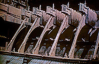 Detail of the buttresses on Notre Dame Cathedral. Weight was carried by the ribs of the vault entirely outside the structure to a series of counter-supports, which were topped with stone pinnacles which gave them greater weight.
