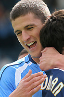 Wycombe's John Mousinho celebrates with goalscorer Craig Woodman during Wycombe Wanderers vs Lincoln City, Coca Cola League Division Two Football at Adams Park on 23rd August 2008